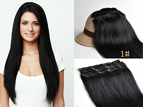 Meilleure Qualité! Romantic Angels®Extensions de cheveux à clips 100% naturel qualité Remy Hair 100g - 40cm Couleur:noir#1
