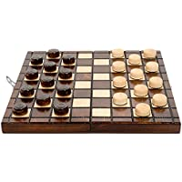CLASSIC 64 FIELDS WOODEN DRAUGHTS / CHECKERS SET 10in/25cm !!! VARNISHED PIECES HORNBEAM WOOD !!!