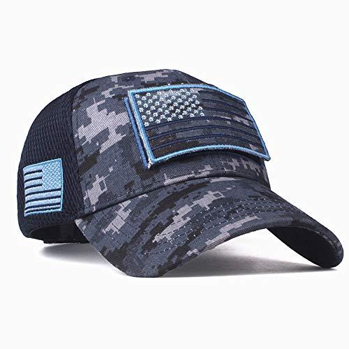 zhuzhuwen Hohe Qualität Camouflage Baseball Cap amerikanische Flagge Patch Baumwolle Mesh Cap Herren Hut Kappe 2 einstellbar (Henschel-hüte Männer Für)