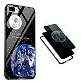 iPhone 8 Plus Case, iPhone 7 Plus Case, Vandot 3 in 1 [9H Hardness] Tempered Glass Case for iPhone 8 Plus Anti-Scratch Shockproof Back Cover + Soft TPU Bumper + PC Printing Panel Non-Slip Exclusive Bling Practical Protective Case Cover for iPhone 8 Plus / iPhone 7 Plus 5.5 inch-I am Always Here with You