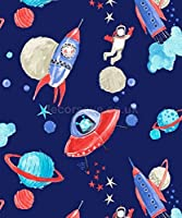 Arthouse Imagine Fun Starship Blue Wallpaper 668000 - Glitter Childrens Space by Arthouse by Arthouse