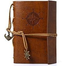 Candora Manual del viajero Vintage Diario Notebook planificador de viaje de piel cuaderno Diario