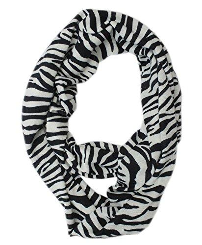 liuanantm donne leopardo stampa morbido cotone jersey infinity sciarpe Circle Loop sciarpa Black& White Taglia unica