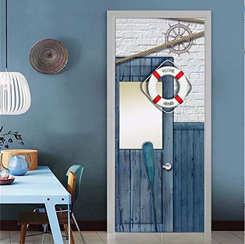 3D Rettungsring Tür Aufkleber Pvc Selbstklebende Wasserdichte Tapete Wohnkultur Für Wohnzimmer Schlafzimmer 85X200 Cm