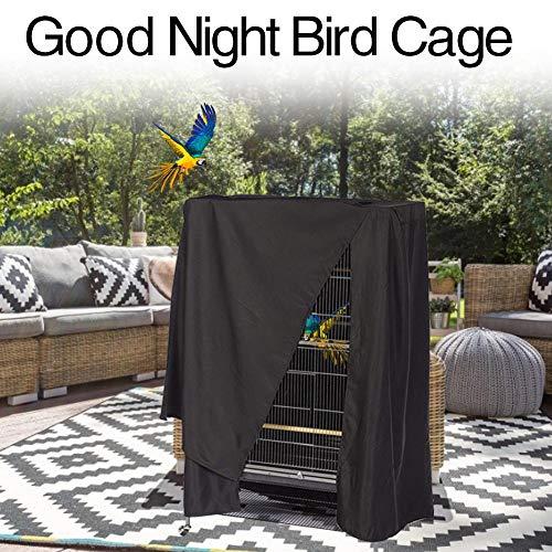 Depruies Vogelkäfigabdeckung Käfigabdeckung Große Papageienkäfigabdeckung Universal Gute Nacht Fenster Aufbewahrungstasche Leichte atmungsaktive waschbare Schwarze Schlafhilfe für Vögel -