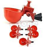Tocoss(TM) 5Pcs automatico Uccello Coop mangime per pollame pollo Fowl Bevitore acqua potabile Coppe