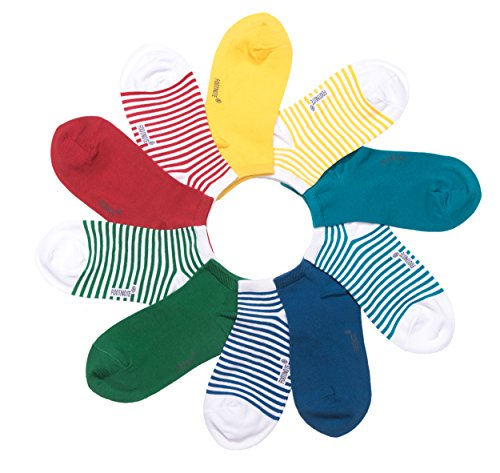 Sneaker Socken von FOOTNOTE®, 10 Paar, Damen/Herren, in bunt (rot, grün, blau, gelb), Größe: 35-38 (Nahtlose Damen-socken)
