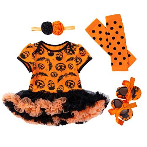 Amosfun 4 stücke Halloween Kinder kostüme Halloween Fledermaus und kürbis gemusterte Kleid Kleidung Anzug größe 59 (0-3 - Süße Fledermaus Säugling & Kleinkind Kostüm