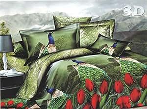 Riyasat - 3D Peacock Print Double Bed Sheet Set (Green Colour 230x250 cm) Glace Cotton Fabric