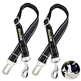 ZOTO Pet Dog Seatbelt Harness,2 Pack 56-80cm Adjustable Cat Seat Belt Strap Lead,Durable Nylon Made Reflective Car Safety Leash Fit All Car Seatbelt Buckle,Dog Car Belt Travel Accessories