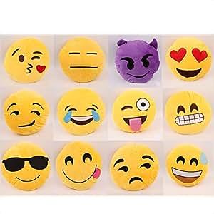 New Emoji Smiley Emoticon Fullte Plusch Pluschtier Gelb Runde Kissen Kissen HOT