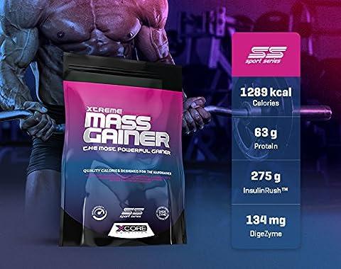 Xtreme Mass Gainer SS Powder 2722 g : Köstlicher Kekse und Sahne Geschmack - Gewichtszunahme-Protein für Muskelwachstum und Muskelerhalt - 1300 Kalorien und 63 g Protein - 8 Portionen !