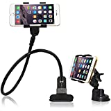 BESTEK 2-in-1 High-grade Aluminum Construction Flexible Long Arms Gooseneck Cell Phone Clip Holder Stand of 360 Rotation, Hands-free Viewing, for Bed, Car, Desktop, Chair Holder with Mounting Clip Car Vehicle Windshield Suction Cup Mount for iPhone/Samsung /GPS/Smartphone BTIH755