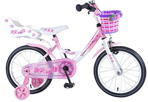 L&E 16 Zoll Fahrrad Rücktritt Stützräder Korb Kinderfahrrad Mädchen Pink Rose 81611