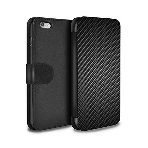 STUFF4 PU-Leder Hülle/Case/Tasche/Cover für Apple iPhone 6+/Plus 5.5 / Grau Muster / Kohlenstoff-Faser-Muster Kollektion (Iphone Plus Fall Kohlenstoff-faser 6)
