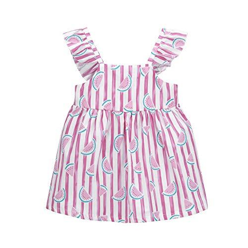 jgashf  Festlich Mädchen Kleider Blumenmädchen elegant Partykleid für Sommer Kinder Baby Druck Bowknot Prinzessin Dress gr 5-11(Rosa,10)