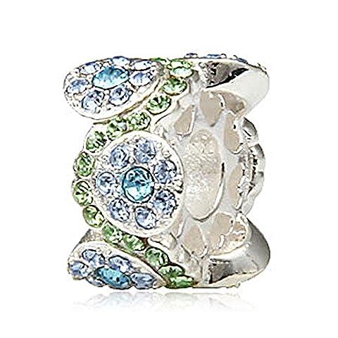 Fleur Daisy Bouquet Dangle March Birthstone Argent sterling 925?Core Bracelet ? breloques pour bracelet Pandora
