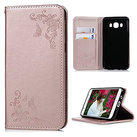 J5 Case (2016 Version), YOKIRIN Premium Soft PU Leather Notebook Wallet Cover Case with Embossed Butterfly [Kickstand] Credit Card ID Slot Holder Hand Strap Magnetic Closure Folio Flip Protective Slim Skin Cover for Samsung Galaxy J5,Rose Gold