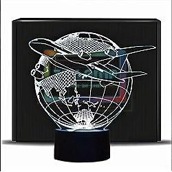 PONLCY Nouveauté 3D Illusion Lampes LED Avion Volant Night Lights USB 7 Couleurs Capteur Lampe de Bureau pour Enfants Cadeaux d'anniversaire De Noël Décoration de La Maison (Spacemen)