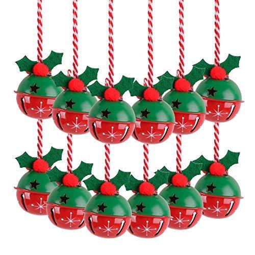 Victor's Workshop 12 Set Ø 3.5cm Christbaumschmuck Metall Glöckchen Weihnachtsglocken Schellen Rot Grün Weihnachtsdeko für Weihnachtsbaum Schmuck Frohe Weihnachten