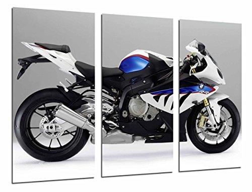 Quadro su Legno, Moto BMW, Bianco e Blu, Strada, 97 x 62cm, Stampa in qualita Fotografica. Ref. 26676