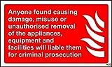 Fuego signos equipos cualquiera encontrado causar daño indebido o retirada no autorizada de la...