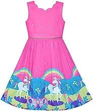 Sunny Fashion Vestito Bambina Viola Girasole Verde Foglie Farfalla 4-12 Anni