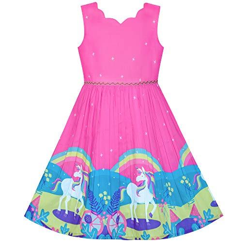 Mädchen Kleid Einhorn Regenbogen Ärmellos Tief Rosa Prinzessin Gr. 116 (Kleider Ostern Mädchen)