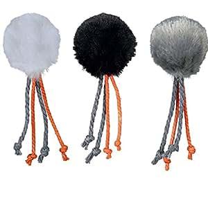 3 balles peluche avec cloche/plume, ø 4 cm pour chat