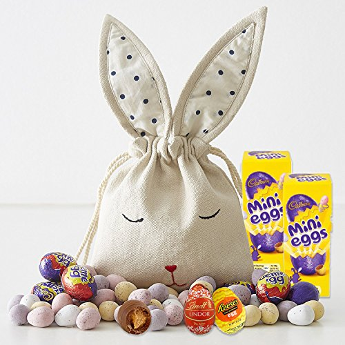 Easter Mini Chocolate Eggs Variety in Hand Embroidered Bunny Bag