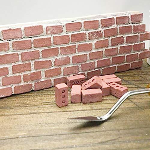 Jamicy® 24er/ Set Bastel BausteineZiegel für Kinder, Mini Zement Ziegel und Mörtel Lassen Sie Ihre eigene kleine Wand Mini Ziegel Spielzeug Bauen, Burg Bauen (Rot)