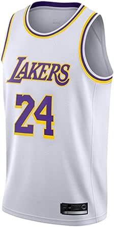 Mesh e Traspirante Adatta a Varie Occasioni. JUEJ Maglia da Basket # 24 Kobe Bryant Los Angeles Lakers Ricamata in Oro Nero Leggera e Resistente