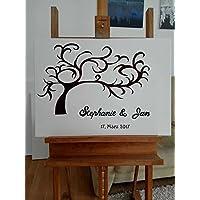 70 x 50 cm, Hochzeitsgästebuch Hochzeitsbaum Wedding Tree Alternative Gästebuch, Fingerabdruck - Baum, Leinwand mit Stempelkissen