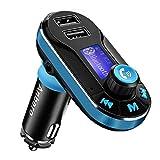 Transmetteur FM Bluetooth, Kit Main Libre Voiture Bluetooth Sans Fil Radio Adaptateur Chargeur de Voiture