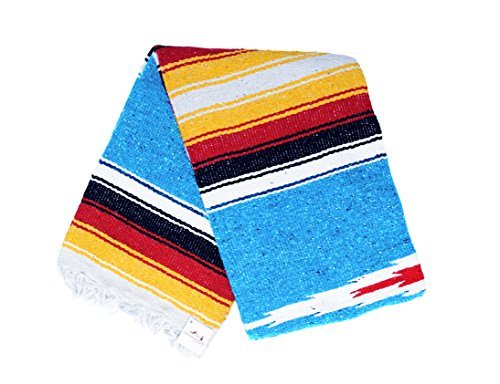 Mexican Diamond Yoga Blanket, Blue or Turquoise Thick Serape with Red and Yellow Sunset Stripes — Handmade