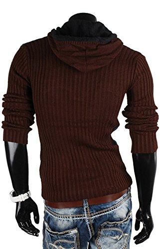 Tazzio Pull à capuche tricot large Sweat-shirt Veste en tricot Marron - Marron