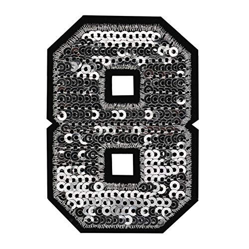 maDDma ® Zahl Pailletten Aufbügler 3-4,6x6,5cm Silber Applikation Aufnäher Zahlen Ziffern, Buchstaben & Zeichen:8