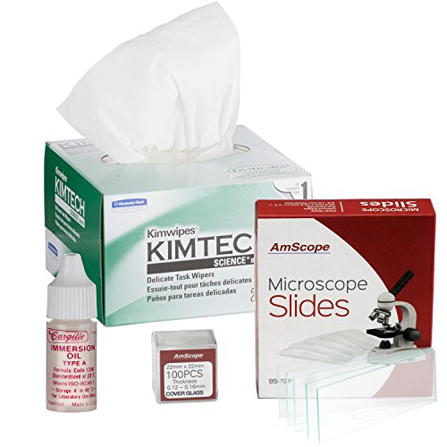 amscope mla-wpkim-72p100s22Mikroskop Immersion Öl 1/4oz Typ A mit Kimwipes, 72Folien & 100coverslips