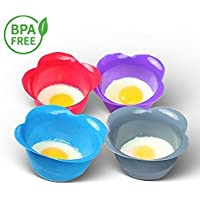 Egg Poacher Cups (Set of 4) - Easy to Cook Perfect Poached Eggs - Great non-stick poached egg maker to replace Microwave Poacher and Egg Ring - Includes Bonus Recipe eBook