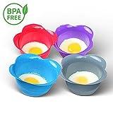 MOLDES DE SILICONA para cocer huevos (SET DE 4) en su punto de Kitzini - Con estos escalfadores podrá conseguir fácilmente unos huevos poché cocinados perfectamente al baño maría - 4 colores