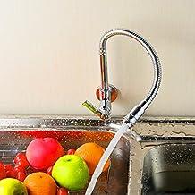Giro de 360 grados de un solo tubo de grifo acabado en cromo de alimentación de agua del fregadero de cocina fría agua del grifo grifos de una manija montada en la pared