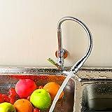 360 Grad-Schwenker-Einrohr-Hahn-Chrom-Finish Wasser-Energien-Küche-Wannen-Kaltwasserhahn Wasserhahn einzigen Handgriff der Wand befestigter