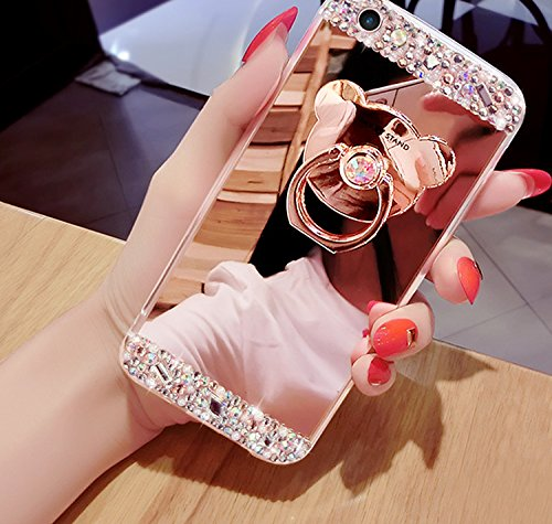 Cover per iPhone 8 Full Body , Custodia per iPhone 7,Bonice Bling Diamante Glitter Lusso Cristallo Perla Strass Morbida Rubber [Rotazione Grip Ring Kickstand] con Supporto Dellanello Shock-Absorption Oro rosa 01