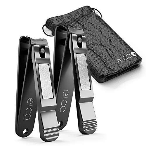 Eico Profi Nagelknipser 2er Set - Extra scharfe Premium Nagelzwicker mit integrierter Nagelfeile und Tasche - rostfrei - Für Finger- und Zehennägel - auch Linkshänder geeignet