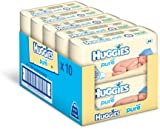 Huggies Pure Baby Wipes -  Pack of 10 (10 x 56 Packs, Total 640 Wipes)