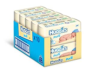 Huggies Pure Baby Wipes -  Pack of 10 (10 x 56 Packs, Total 640 Wipes)