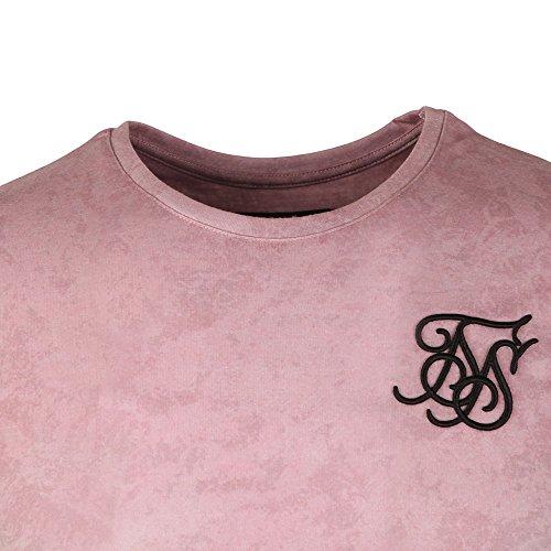 Sik Silk Uomo Maglieria/T-Shirt Curved Hem Faded Rosa