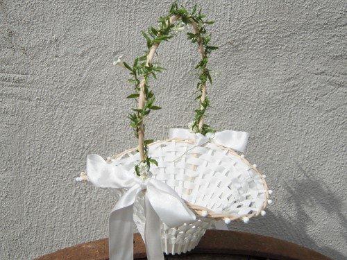 Blumenkinderkörbchen weiß -Jasmin-, Blumenkinderkorb Streukörbchen zur Hochzeit