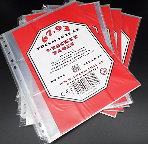 docsmagic.de 50 9-Pocket Pages - 11-Hole - 3-Ring Album - Magic: The Gathering - Yu-Gi-Oh! - Feuilles de classeur 9 pochettes