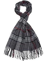 LORENZO CANA Italian Scarf Pashmina Cashmere Wool Shawl 71'' x 12'' Checkered Grey Black White Red 9324611